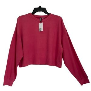 DIVIDED H&M Jersey Cropped Pink Top Size L